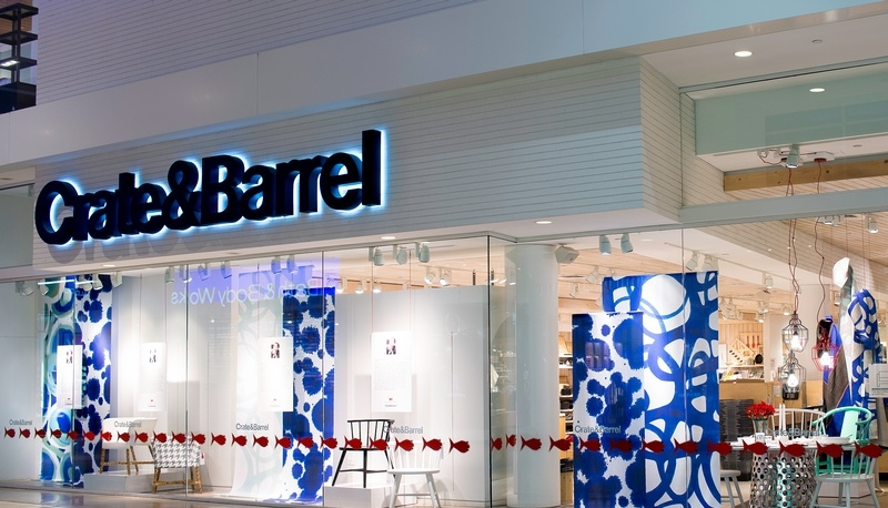Clean and sleek Crate & Barrel storefront at Yorkdale Shopping Centre