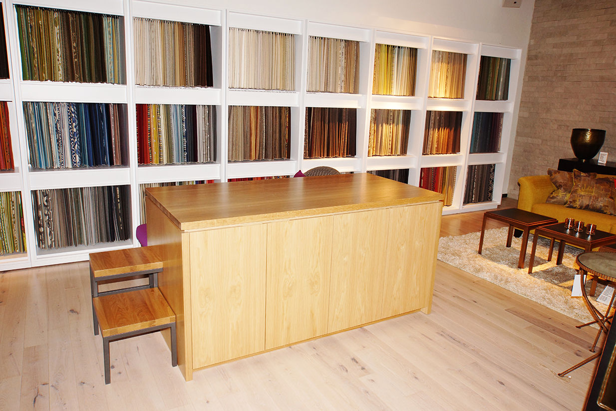 Crate & Barrel custom fabric table and built-in textile storage