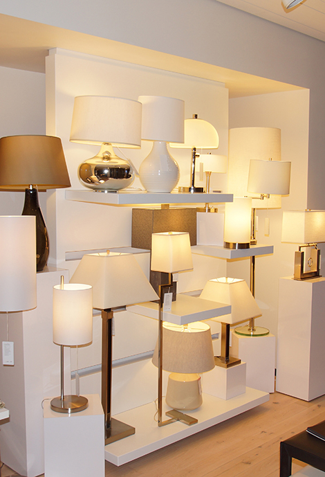 Crate & Barrel's unique table lamp shelving