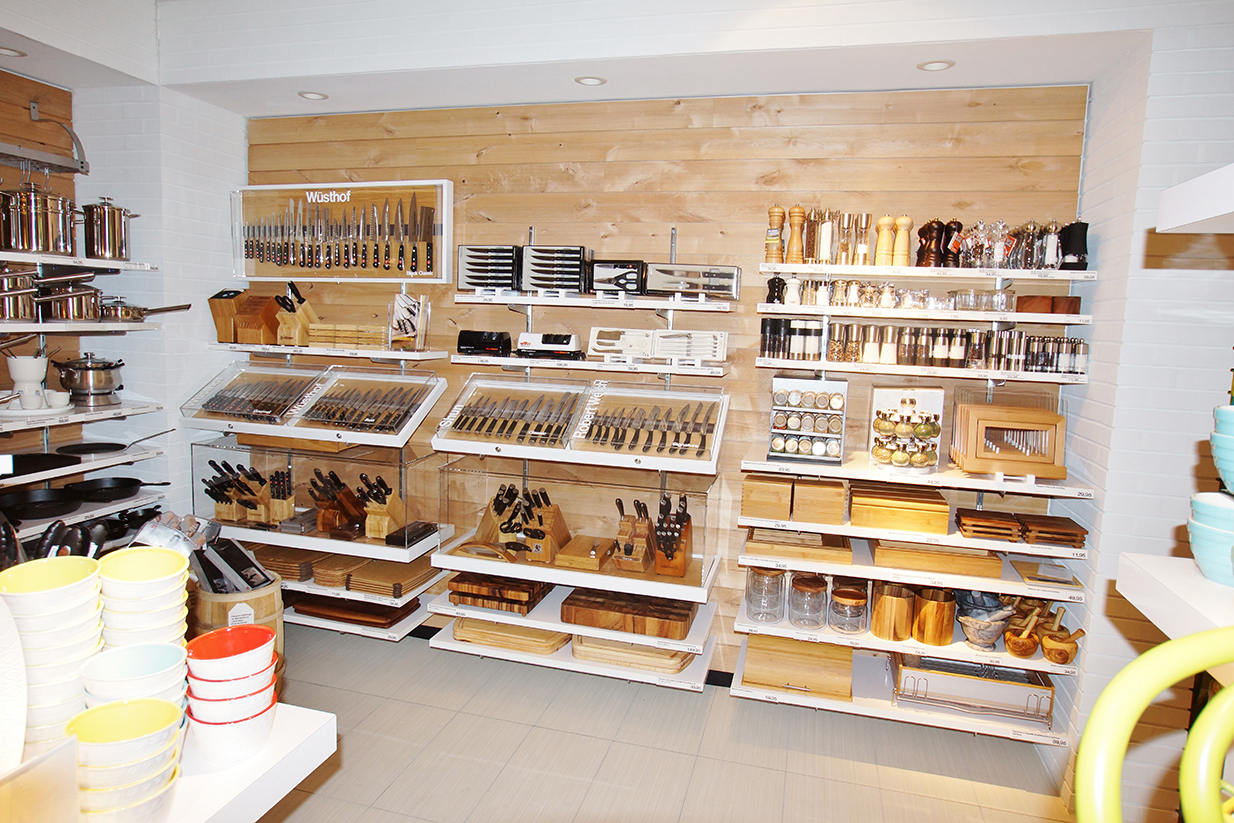 Crate & Barrel utensil shelving and display